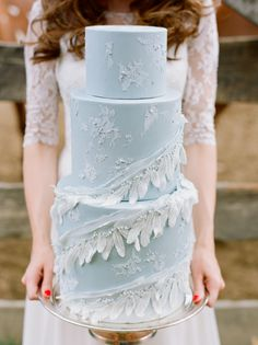 A cake decorated with ribbons of delicate feathers.