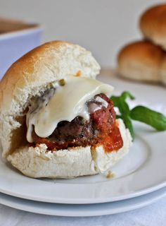 Cheesy Stuffed Meatball Sliders   howsweeteats.com