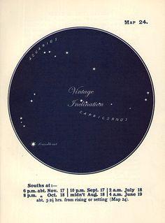 Vintage Edwardian STAR MAP 24 AQUARIUS astronomy print star chart zodiac constellations Celestial Maps