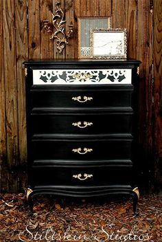 Donatella Damask Stencil | Simplicity makes this dresser by Stiltskin Studios impactful.