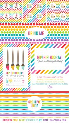 Party Printables | Rainbow Paint Party - Craft Crazy Mom