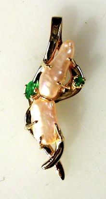 Pendant, Baroque Pearls with Emeralds