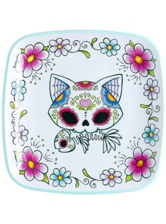 """Sugar Skull Cat"" Platter (White) #InkedShop #cat #plate #dayofthedead #kitchenware"