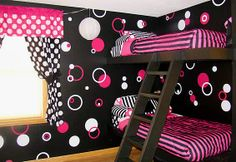 Black, hot pink, and white bedroom