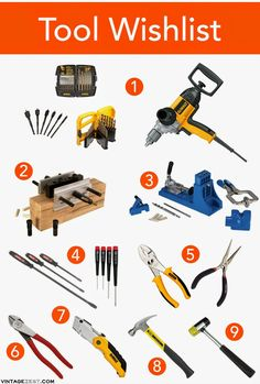 """Essential Woodworking Tools for Beginners: 1. Drill (3/8"""" variable speed) & (Twist drill bits (1/16-3/8""""), Spade-shaped drill bits, Brad-point drill bits) 2. Doweling jig 3. Kreg jig 4. Screwdrivers (straight, Phillips) 5. Pliers (Slip-joint, needle-nose) 6. Diagonal cutters 7. Utility knife 8. Hammer 9. Rubber mallet"""