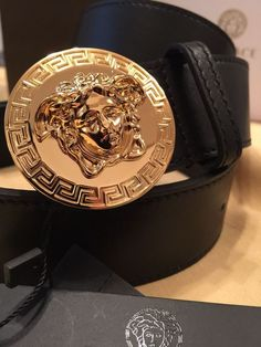 Authentic Mens Versace Belt Black With Gold Medallion Buckle 95cm