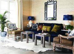 Dark Blue Sofa and Nice Yellow Throws