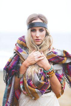 Tribal Oversized Fringed Poncho Scarf -