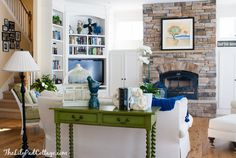 Lake House Decor - my mom's sunny living room - The Lilypad Cottage