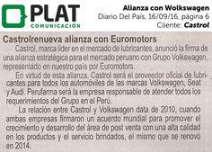 Castrol: Alianza con Wolkswagen en el diario Del País de Perú (16/09/16)