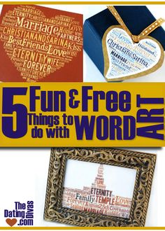 5 fun and free things to create using the word art website tagxedo.com. www.TheDatingDivas.com #giftideas #wordart #diygift