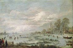 Aert van der Neer - Winterlandschap met schaatsers op een dichtgevroren meer
