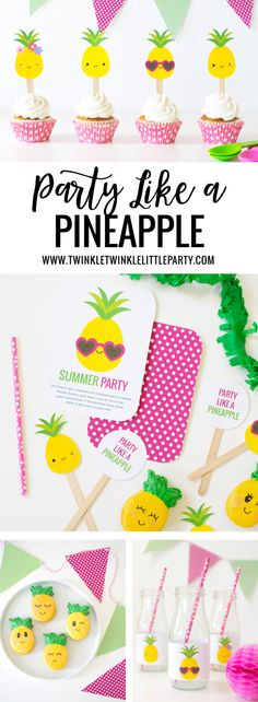 'Party like a Pineapple' Party Ideas + FREE printables Ananas Party ideen und diy Flamingo Party, Summer Party Decorations, Birthday Party Decorations, Summer Party Themes, Birthday Ideas, Rosalie, Party Printables, Free Printables, Fruit Party