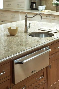 """""""Convenient Prep Sink This stainless-steel prep sink is placed conveniently near the warming drawer. The center island holds everything needed for food prep, including the warming drawer, counter space, and the sink. The simple faucet gets the job done in style without becoming the focal point of the kitchen."""""""