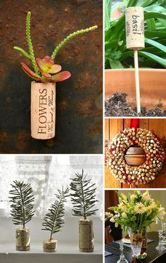 Wine Cork Crafts for the Garden. I gotta start drinking more wine. Wine Craft, Wine Cork Crafts, Wine Bottle Crafts, Wine Cork Projects, Craft Projects, Craft Ideas, Garden Crafts, Diy Crafts, Fall Crafts