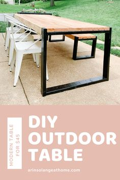 Create this DIY modern outdoor table for $45 in just a couple of hours. Such a fun way to spruce up your patio for Summer! #diy #diytable #diyoutdoortable Rustic Outdoor Decor, Diy Outdoor Table, Outdoor Paint, Diy Patio, Patio Table, Diy Table, Outdoor Dining, Outdoor Furniture, Backyard Patio