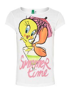 We love this gorgeous Benetton Girls Glitter Tweety Print T-Shirt