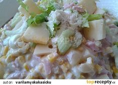 Vitaminový salát s řapíkatým celerem, ananasem a sýrem recept - TopRecepty.cz Potato Salad, Potatoes, Cooking, Ethnic Recipes, Food, Pineapple, Kitchen, Potato, Essen