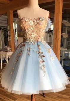 Light Blue Homecoming Dresses, Floral Prom Dresses, Hoco Dresses, Beautiful Prom Dresses, Elegant Dresses, Sexy Dresses, Fashion Dresses, Summer Dresses, Wedding Dresses