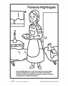 Worksheets: Florence Nightingale Coloring Page