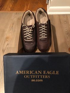 ed64cd1729 American Eagle Brown Leather sneaker Shoes Mens Size 9 Minor wear and tear  but still in great wearable  fashionable condition!