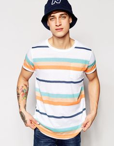 Pull And Bear Pullandbear T Shirt With Stripes White | Nuji
