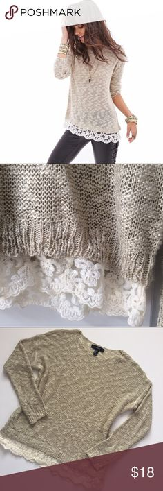 """Lace Crochet Trim Sweater 🍂 Beautiful, lightweight sweater with Lace crochet trim. Fits loose. Perfect condition. Size Medium -- 26"""" length and 22"""" bust. *NO TRADES*                                                                        ⭐️Use the """"Buy Now"""" or """"Add to Bundle"""" button for Purchasing. 10% off bundling available. ⭐️ Forever 21 Sweaters Crew & Scoop Necks"""
