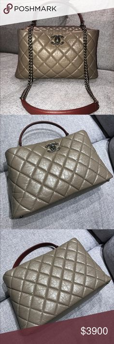 AUTHENTIC CHANEL Grand Shop Zip LIKE NEW, RARE! Includes Original AUTHENTICITY Sticker, Card (18 Series Authenticity Card), Care Packet, Dust Bag and Original Box (purchased from Hirshleifers). More pics available upon request. A67766 Y04150 (Made in Italy). Grey/Beige/Tan Distressed Lambskin Leather w/RHW & Burgundy Leather Handle Strap. Interior is lined w/ burgundy cloth. 2 Interior Pockets, 1 interior small zip pocket, 1 magnetic clasp & 1 CC turnlock. Bag is in pristine condition. No…