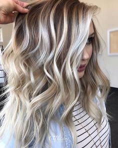 Silver Blonde Hair, Blonde Hair Looks, Icy Blonde, Butter Blonde Hair, Gray Hair, Brown Hair, Hair Color Highlights, Hair Color Balayage, Blonde Bayalage Hair