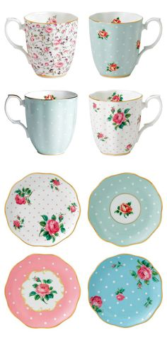 Cute Tea Sets love that they don't match but they do!