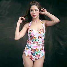 Modelo de mariposa encantadora de la mujer empuja hacia arriba de una pieza  Monokini Bañador de 0b24c79c1f6a