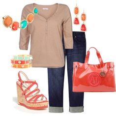 Plus size tan & orange summer outfit, created by penny-martin on Polyvore