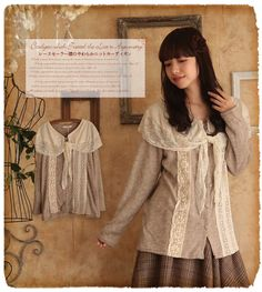 Japanese women Sweet Lace Mori Girl Tops T-shirt Scarf Collar Long sleeve #T-78A #NEW #BasicTee