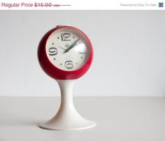 SALE Vintage Alarm Clock White and Red by TheThingsThatWere