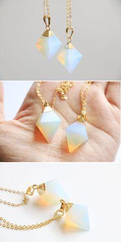 Opalite necklace, Crystal necklace, Opalite pendant, Opalite jewelry, Quartz…