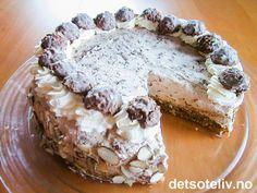 """""""Gallakake"""" er en FANTASTISK selskapskake!!! Kaken består av en usedvanlig saftig nøttekakebunn som er dekket med et tykt lag med luksuskrem som inneholder hakket Ferrero Rocher-konfekt!!! Den samme konfekten er brukt til å pynte kaken. -Ingen billig affære, - men smaken er verdt hvert øre!"""