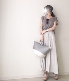 【coordinate】GUマキシでニュアンスカラーコーデ|Umy's プチプラmixで大人のキレイめファッション