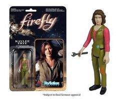 Jewel Staite's Kaylee Frye gets the ReAction treatment! Standing 3 3/4-inches tall, this articulated figure of the Serenity ship's mechanic is the perfect size for desk display at work or at home. The Firefly Kaylee Frye ReAction Retro Action Figure from Super7 and Funko comes with a wrench accessory. It makes an awesome collectible for any fan of the Joss Whedon TV series!