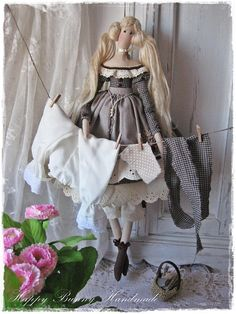 Tilda doll Miss Jolene Fabric Handmade doll Country style Fabric Primitive doll OOAK doll Collectible doll Home decor Gift for her   This handmade tiny doll is my interpretation of a Tilda doll pattern. The doll is wearing a gingham dress with puffed sleeves. On top of her dress