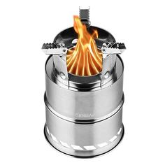 Camping & Hiking Honey Lixada Outdoor Wood Stove Camping Stoves Compact Folding Tableware For Outdoor Camping Cooking Picnic Hiking Bbq Titanium Steel Campcookingsupplies
