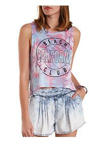 Tie-Dye California Beach Club Graphic Muscle Tee