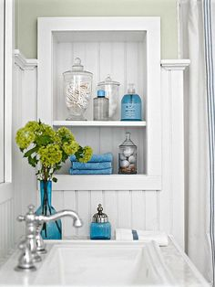 Install trim around shelves placed between wall studs. A great way to find extra space in a small room!