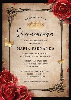 Mexican Quinceanera Dresses, Quinceanera Planning, Quinceanera Themes, Quinceanera Traditions, Quince Invitations, Vintage Invitations, Wedding Invitations, Sweet 15 Invitations, Invitation Birthday