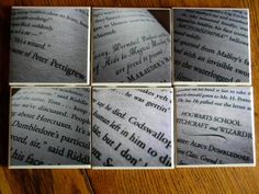 Get the look of these six Harry Potter coasters ($24) by using ceramic tiles, Harry Potter book pages, and ...