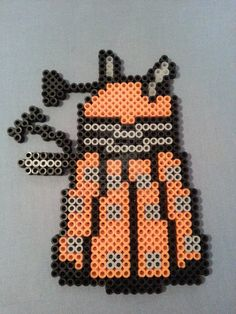 Orange Dalek Perler Bead Figure by AshMoonDesigns https://www.etsy.com/shop/AshMoonDesigns
