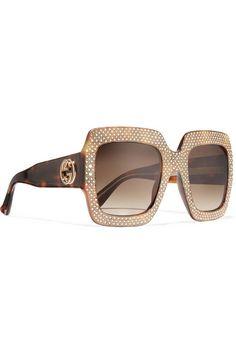 Gucci | Square-frame crystal-embellished acetate sunglasses | NET-A-PORTER.COM