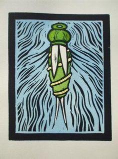 """Painted Prince Nymph"" linocut by Gregorio Perez. http://gregorioperez3.wordpress.com/ Tags: Linocut, Cut, Print, Linoleum, Lino, Carving, Block, Woodcut, Helen Elstone,  Water, Insect, Creature."