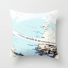 Ordinary People Throw Pillow by ARTbyJWP in Society6 #throwpillow #pillow #pillows #pillowcases #pillowcase #pillowcover #throwpillows #cushion #livingroom #bedroom #homedecor #artbyjwp #society6 #globe -- Throw Pillow made from 100% spun polyester poplin fabric, a stylish statement that will liven up any room. Individually cut and sewn by hand, each pillow features a double-sided print and is finished with a concealed zipper for ease of care.  Sold with or without faux down pillow insert.
