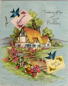 How wonderful to live in this lovely cottage with bluebirds all around, love it.