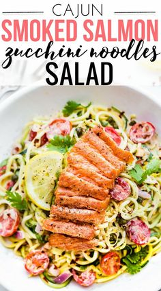 A kickin Smoked Salmon Zucchini Noodles salad makes for a perfect no cook meal! Just what we need for Summer, yes? Or anytime really! A zippy cajun sauce tossed in chopped vegetables and zucchini noodles then topped with peppery smoked salmon. Paleo, low